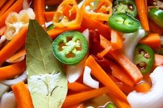 Escabeche-Spicy Pickled Carrots and vegetables (Hispanic Kitchen) vegetables, to try for Aaron Mexican Dishes, Mexican Food Recipes, Carrot Recipes, Healthy Recipes, Healthy Foods, Pickled Carrots, Spicy Carrots, Hispanic Kitchen, Comida Latina
