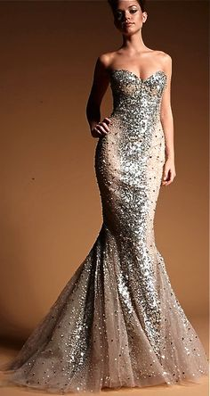 Zuhair Murad Sequined Fishtail Dress---talk about bling Cheap Evening Dresses, Evening Gowns, Prom Dresses, Wedding Dresses, Dress Prom, Sequin Dress, Ariel Dress, Glitter Dress, Metallic Dress