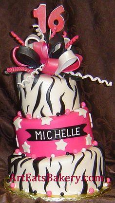 Three tier zebra stripe black, white and hot pink custom fondant mad hatter sweet 16 birthday cake by arteatsbakery, via Flickr