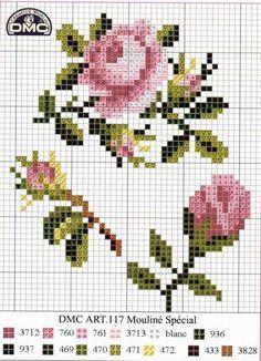 Gráfico-de-ponto-cruz-grátis-rosas-2 Rosas gráficos de Ponto cruz