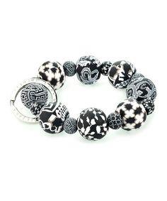Loving this Black & White Key Ring Stretch Bracelet on #zulily! #zulilyfinds