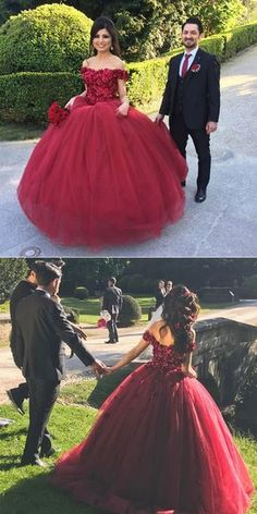 Formal Prom Dresses, quinceanera dresses burgundy wedding dress maroon ball gowns off the shoulder wedding gowns flower dresses for bride Brickell Bridal Xv Dresses, Quince Dresses, Flower Dresses, Prom Dresses, Bride Dresses, Tulle Ball Gown, Ball Gowns, Pageant Dresses For Teens, Elegant Bridesmaid Dresses