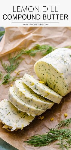 Lemon dill compound butter is quick and super easy to make. This herbed butter goes well with sea food steak chicken or potatoes. It does not only boost their flavor but also makes them extra creamy and juicy. Dill Recipes, Sauce Recipes, Cooking Recipes, Flavored Butter, Homemade Butter, Steak Butter, Tapenade, Compound Butter, Antipasto