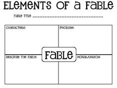 Free Elements of a Fable Graphic Organizers.  Two great free pages