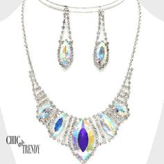 CLEARANCE AURORA BOREALIS RHINESTONE CRYSTAL FORMAL NECKLACE JEWELRY SET TRENDY #Unbranded