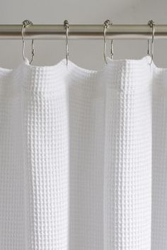 Shop the Coyuchi Waffle Organic Shower Curtain at Anthropologie today. Read customer reviews, discover product details and more. Guest Bathrooms, Bathroom Spa, Small Bathroom, Bathroom Ideas, White Bathroom, Master Bathroom, Modern Shower Curtains, Bathroom Shower Curtains, Shower Tile Designs