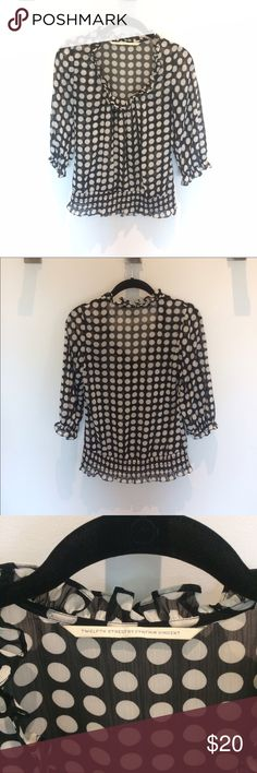 cb29399406ffa Sheer Polka-dot Blouse 100% polyester sheer blouse. Black with white  (slightly