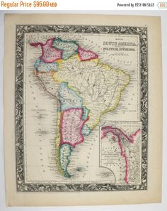 Original Antique Map of South America 1860 Mitchell Map, Latin American Decor Art Map, Unique Wedding Gift for Couple, Historical Map available from OldMapsandPrints.Etsy.com #SouthAmerica #MitchellMapSouthAmerica