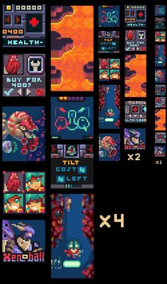 #gamedev #pixeart Mockups for Xenoball, a 32x32px game. I always enjoy making individual pixels count. #indiedev