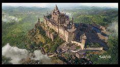 Fort by sandy datta Fantasy art landscapes Fantasy landscape Castle art