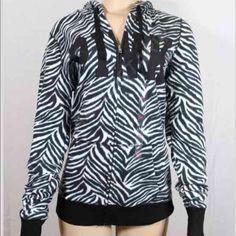 Nw Vs pink black & white hoodie (45Mercariii) Victoria's Secret PINK Black White Zebra Print Zipper Hoodie Sweatshirt  Size SMALL PINK Victoria's Secret Sweaters