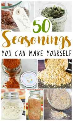 Easy Homemade Seasonings 50 Homemade Seasonings and Spice Rubs - great for grilling, breads and so many more of your favorite recipes! via Homemade Seasonings and Spice Rubs - great for grilling, breads and so many more of your favorite recipes! Homemade Dry Mixes, Homemade Spice Blends, Homemade Spices, Homemade Seasonings, Spice Mixes, Homemade Ranch Seasoning, Homemade Things, Soup Mixes, Spice Rub