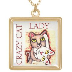Cat Lover Necklace #crazycatlady #catlovers #cats #zazzle #jamiecreates1