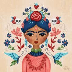 """Fierce Like Frida"" illustration. Monkey Illustration, Frida Art, Pop Art, Mandala, Arte Popular, Mexican Folk Art, Painting & Drawing, Amazing Art, Watercolor Art"