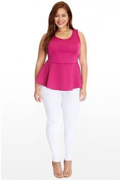 Plus Size Hi-Lo Scuba Peplum Top   Fashion To Figure