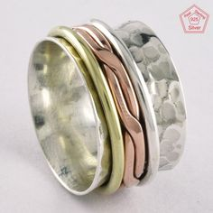 Sz 7.5 US, GENTLE BEAUTY HAMMERED DESIGN 925 STERLING SILVER SPINNER RING,R4438 #SilvexImagesIndiaPvtLtd #Spinner #AllOccasions