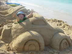 Fun idea for a sand castle.....just build their favorite car to drive!