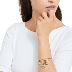 Take the night wherever you go with the Crescent Moon charm bracelet. Available in gold or silver finish. Shop USA made products from Alex and Ani.