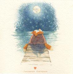 Просмотреть иллюстрацию луна из сообщества русскоязычных художников автора Катя Гончарова в стилях: Графика, Книжная графика, нарисованная техниками: Акварель.