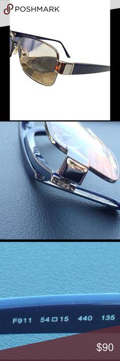 Fendi eyeglass frames blue signature zucca Fendi rare cobalt blue and black silver eyeglass sunglasses shades eyewear signature zucca Fendi Accessories Sunglasses