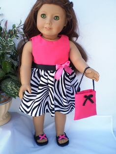 Pink Black white Dress 18 American Girl Doll by sassydollcreations, $15.99