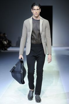 Emporio Armani Men's RTW Spring 2014. Great collection of materials, paneled mesh tops, and classic colors.