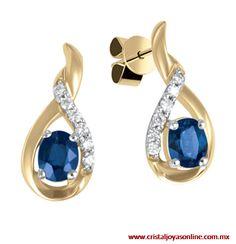 Hermoso aretes de oro amarillo 14k con elegantes detalles echos de diamantes y zafiros