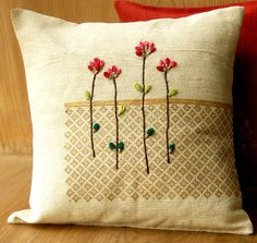 Surface ornamentation & embroidery on cotton, linen and silk. Diy Pillows, Decorative Pillows, Throw Pillows, Cushion Cover Designs, Cushion Covers, Hand Embroidery, Embroidery Designs, Bed Scarf, Beautiful Patterns