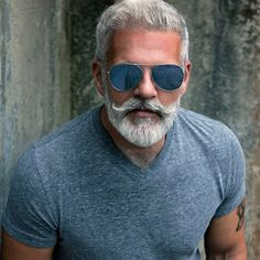 gray hair and beard images at DuckDuckGo Beard And Mustache Styles, Beard Styles For Men, Beard No Mustache, Handlebar Mustache, Grey Hair And Beard Styles, Silver Hair Men, Men With Grey Hair, Gray Hair, Bald Men With Beards