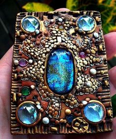 Art: ACEO Polymer Clay Pebbles and jewels by Artist Christina A Kapono