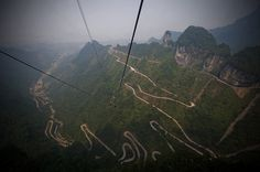 The Most Unusual Roads From All Over The World - Mountain route through Tianmen Park, Hunan, China
