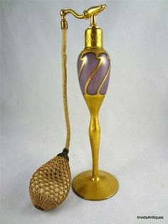 Vintage Volupte DeVilbiss Perfume Bottle Purple with Gold Gilt & Atomizer