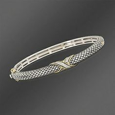 Andrea Candela 18kt Gold and Textured Sterling .12 ct. t.w. Diamond Bangle Bracelet. 7""