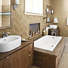 60 Luxurious Master Baths - Include an Alcove - Don't overlook small ways to incorporate convenient storage. A decorative tiled alcove next to the tub in this master bath is a great place for soaps and other toiletries.