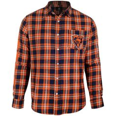 Men's Chicago Bears NFL Klew Navy/Orange Wordmark Flannel Button-Up Long Sleeve Shirt