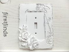 Victorian antique vintage style rose 3 toggle light switch cover light switch cover plate shabby chic white electrical framed painted cottage decor resin plastic rose distressed sciox Gallery