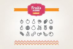 Hand drawn fruits icons by miumiu on Creative Market