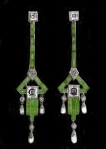Lovely  Art Deco Jadite and Diamond Earrings