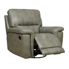 Kick back and relax in this grey-taupe leather match swivel glider recliner. This Emerald seat features grey top leather and an all wood frame so you'll be able to enjoy it for years to come.