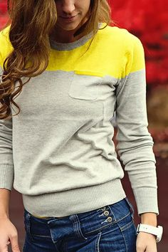 Grey and yellow sweater shirt for fall