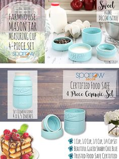 Amazon.com: Mason Jar Measuring Cups Set - Set of 4 Ceramic Measuring Cups (1/4, 1/3, 1/2, 1 cup) in Rustic, Antique, Farmhouse Design Perfect for Your Kitchen by Sparrow Decor (Blue): Kitchen & Dining