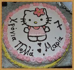 Χιώτικες Διαδρομές: Πανεύκολη διακόσμηση Τούρτας HELLO KITTY  σε 2 μεγ... Hello Kitty, 2 Birthday Cake, Cakes, Create, Desserts, Food, Tailgate Desserts, Deserts, Essen