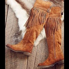 Free People Over the Knee Fringe Boots Free People Can't Stop over the knee Tan Suede fringed boots.  Brand new w/box.  No trades.  EU 38 Free People Shoes Over the Knee Boots