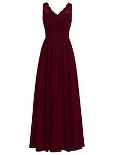 Dresstells Long Bridesmaid Dress V-neck Chiffon Prom Dress Lace Evening Dress Burgundy Size 22W