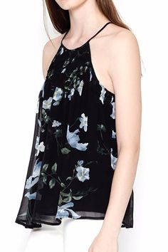 Delicate, hand done English smocking at the neckline accents the Soseh top in allover floral printed crepe georgette. Featuring a halter neckline, flowy fit and flattering racerback, it evokes the feminine mood of the season.     Floral Silk Top by Joie. Clothing - Tops - Sleeveless Clothing - Tops - Tees & Tanks California