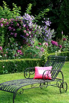 Repose beside the clematis. Clematis, My Secret Garden, Garden Gates, Dream Garden, Big Garden, Spring Garden, Water Garden, Garden Furniture, Porch Furniture