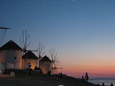 Windmills at Mykonos sunset #traveltoGReece.