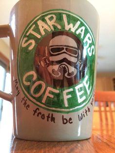 Star Wars sharpie mug ( bake 30 min at 425 using Bic permanent markers )
