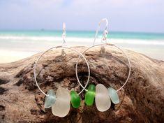 Hawaiian Aqua Blue, Emerald Green, & Clear Beach Glass on 925 Sterling Silver Circular Wire Small Hoop Earrings by LindseysBeachGlass, $57.00