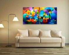 Urbanity Vista, giclee print on stretched canvas by Sally Trace, geometric abstract landscape, fine art prints on canvas Geometric Painting, Abstract Landscape Painting, Geometric Art, Painting Prints, Fine Art Prints, Colorful Paintings, Giclee Print, Etsy, Original Paintings